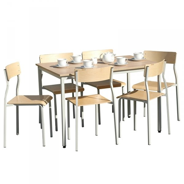 zestaw stołówkowy nr 2, zestaw do stołówki, stół ewa, krzesło leon stołówkowe