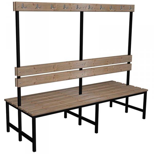 ławka szatniowo korytarzowa premium 2-str. z oparciem i wieszakiem 1m lub 1,2m