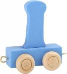 Dekoracja SMALL FOOT wagon do lokomotywy z literą I (kolor niebieski)