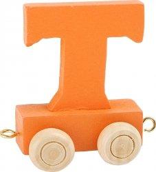 Dekoracja SMALL FOOT wagon do lokomotywy z literą T (kolor pomarańczowy)