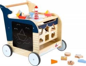 SMALL FOOT Baby Walker Whale - Drewniany Chodzik Pchacz z Zabawkami