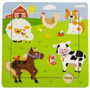 VIGA Poręczne Drewniane Puzzle Farma 9 elementów
