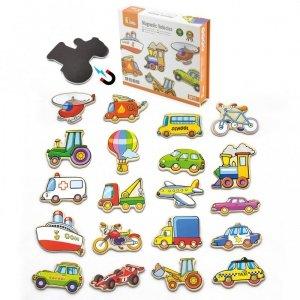Drewniany zestaw magnesów Pojazdy Viga Toys