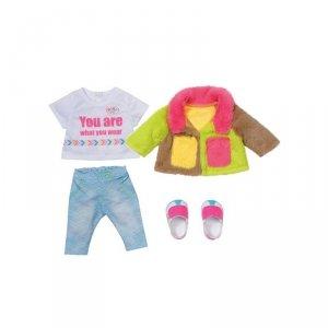 Baby Born Modny Zestaw Ubranek z Kolorowym Płaszczykiem dla Lalki 43 cm