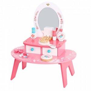 TOOKY TOY Różowa Toaletka Drewniana Do Makijażu z Lustrem