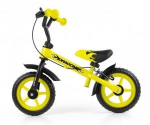 Rowerek biegowy Dragon z hamulcem yellow