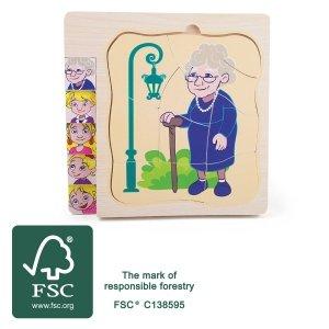 SMALL FOOT Layer Puzzle Grandma's Life - drewniane puzzle na podkładce Życie Babci
