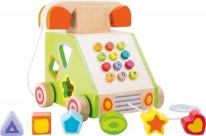 SMALL FOOT Telephone Pull-along and Motor Skills Trainer - telefon zabawka z sorterem kształtów