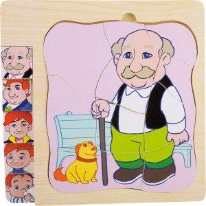 SMALL FOOT Layer Puzzle Grandma's Life - drewniane puzzle na podkładce Życie Dziadka