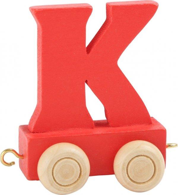 Dekoracja SMALL FOOT wagon do lokomotywy z literą K (kolor czerwony)
