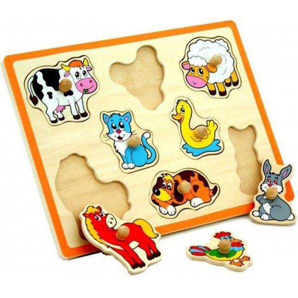 Drewniane Puzzle Farma Układanka Viga Toys