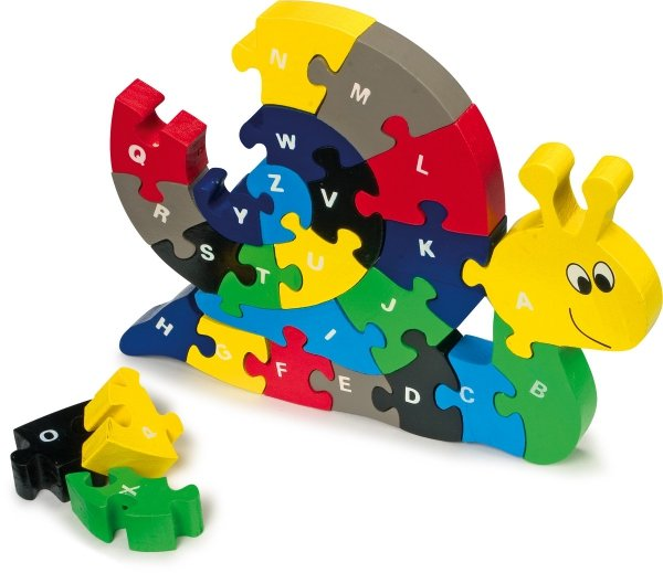 SMALL FOOT Drewniany Alfabet - Puzzle Ślimak