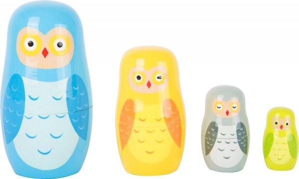 SMALL FOOT Matryoshka zabawka dla dzieci - Sowy
