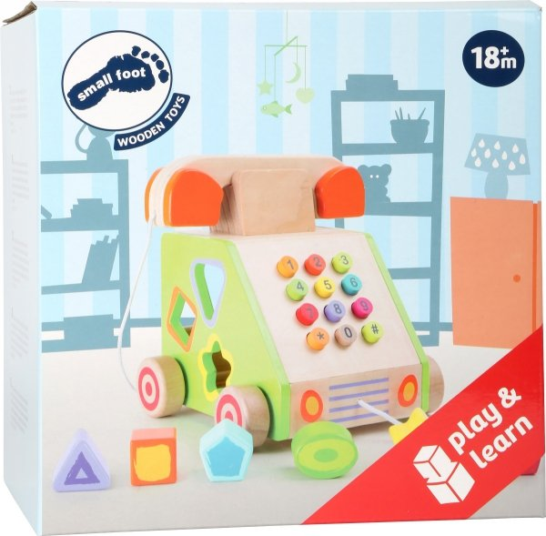 "SMALL FOOT ""Telephone"" Pull-along and Motor Skills Trainer - telefon zabawka z sorterem kształtów"