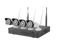 LANBERG Zestaw do monitoringu rejestrator NVR 4 kanałowy WiFi + 4 kamery IP WiFi 1,3Mpx z akcesoriami
