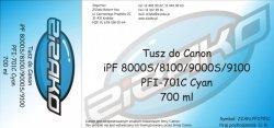 Tusz zamiennik Yvesso PFI-701C Cyan 700ml do Canon iPF8000S iPF8100 iPF9000S iPF9100 CF0901B001AA