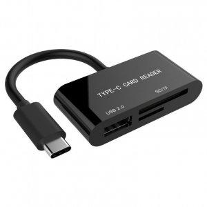 Gembird Czytnik kart na USB-C SDXC/combo/czarny