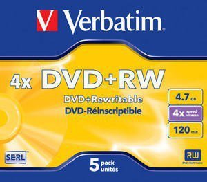 Verbatim DVD+R 4x 4.7GB 5P JC Matt Silver 43229