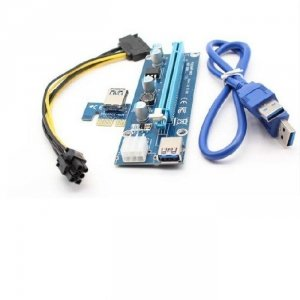 Qoltec Riser PCi-E 1x-16x   USB 3.0   SATA/PCI-E 6pin