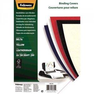 Fellowes Okładki skóropodobne DELTA A4 zółte- FSC, 100 sztuk