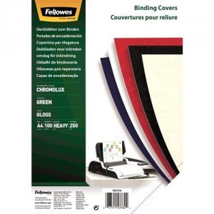 Fellowes Okładki kartonowe Chromo A4 zielone, 100 sztuk