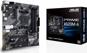 Asus Płyta główna A520M-A AM4 4XDDR4 M.2 DVI/DSUB/HDMIB uATX