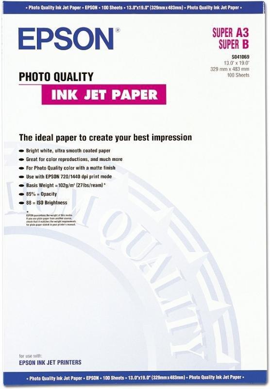 Papier Epson A3 + 720 dpi Photo Quality Ink Jet 100 ark. 104g/m2 S041069