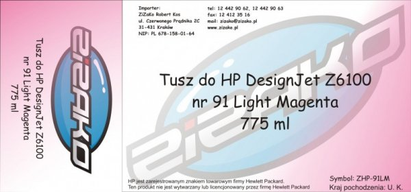 Tusz zamiennik Yvesso nr 91 do HP Designjet Z6100 775 ml Light Magenta C9471A