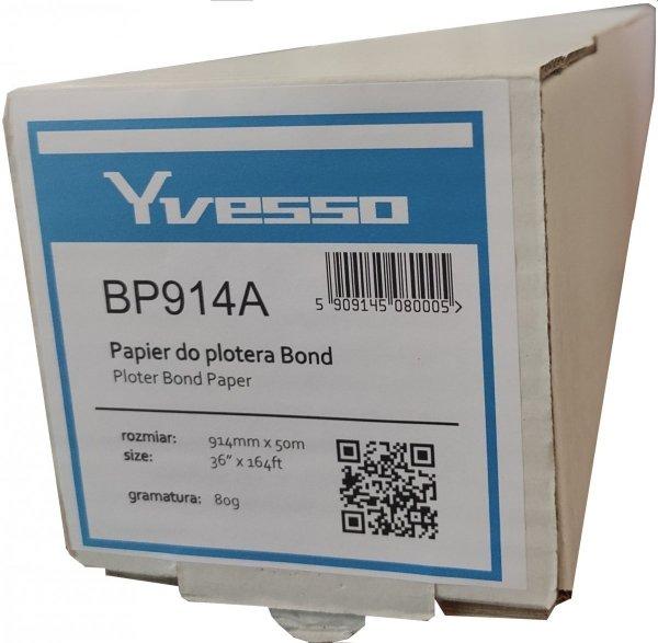 Papier w roli do plotera Yvesso Bond 914x50m 80g BP914A ( 914x50 80g )