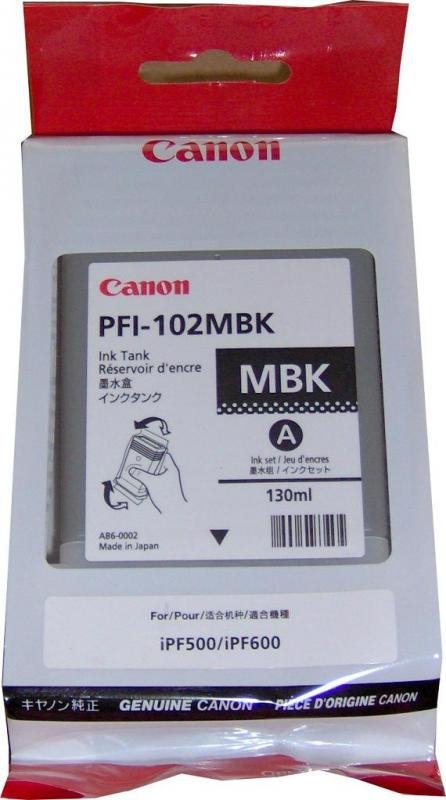 Tusz CANON PFI-102MBK 130 ml mattblack do IPF500/510/600/605/610/650/655/710/720/750/755/760/765 LP17/24