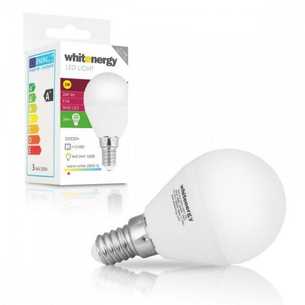 Whitenergy Żarówka LED 5xSMD2835 P45 E14 3W 249lm 175-250V ciepła biała mleczna