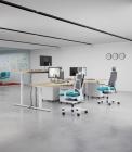 biurko z elektryczną regulacją wysokości eModel białe jasny dąb