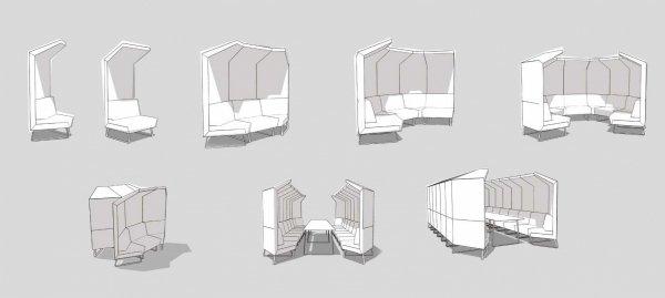 siedziska modułowe Cave przykładowe konfiguracje Bejot Biurokoncept