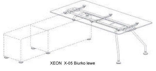 Biurko Xeon lewe wsparte na szafce