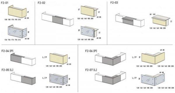 LADA RECEPCYJNA FURONTO SZKŁO F2-04 + F2-05 + 2F2-25