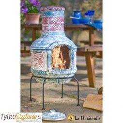 La Hacienda Geometric - Meksykański kominek ogrodowy gliniany z grillem średni