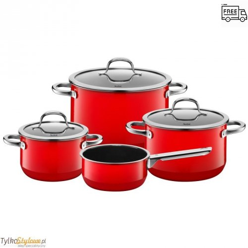 WMF (Silit) - Zestaw 4 garnków,czerwony, FusionTec Mineral