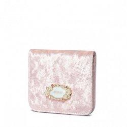 Welurowy mały portfelik różowy