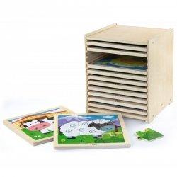 Puzzle drewniane Viga Toys 12 plansz w stojaku