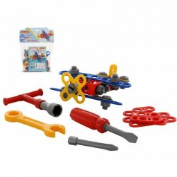 Zestaw Klocki Konstrukcyjne Mały Wynalazca Narzędzia Samolot 57 elementów