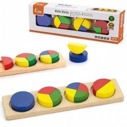 Drewniana Układanka Viga Klocki Matematyczne Ułamki 11 Elementów