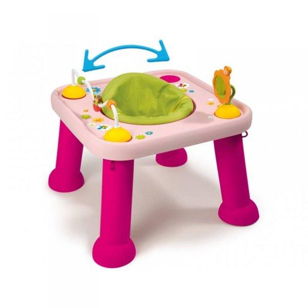 Smoby - Cotoons Edukacyjny Stół - Stolik Obrotowy Różowy 2w1 + Śliniak