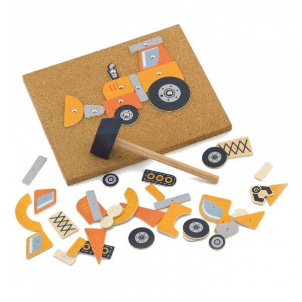 Drewniana Przybijanka Pojazdy budowlane 45 elementów Viga Toys