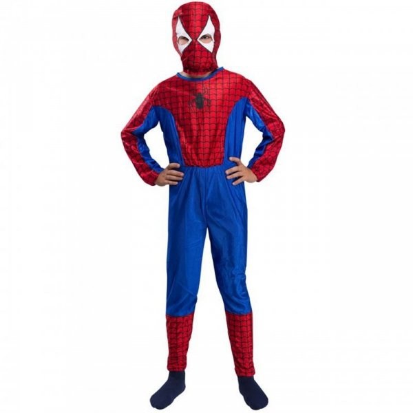 Strój Spiderman Kostium Przebranie Człowiek Pająk Maska dla dziecka 122-128cm