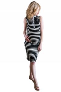 Sukienka ciążowa w paski, kołnierzyk 4218