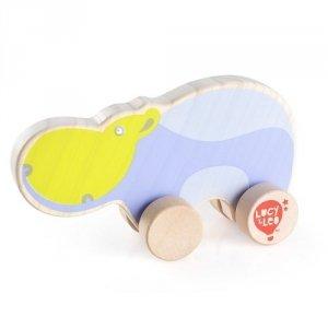 Drewniany hipopotam na kółkach dla malucha #T1