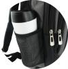 Plecak czarny - 2 kieszenie z siatki i 3 kieszenie zapinane na suwak