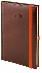 Kalendarz książkowy 2020 A5 dzienny papier chamois drukowane registry perforacja oprawa NEBRASKA brązowa zamykana na gumkę - oprawa skóropodobna