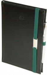Notes A4 z długopisem zamykany na gumkę z blaszką - papier biały w kratkę - oprawa Nebraska czarna (gumka zielona)