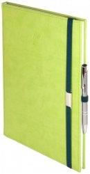 Notes A5 z długopisem zamykany na gumkę z blaszką - papier biały w kratkę ***** oprawa Vivella seledynowa (gumka zielona)